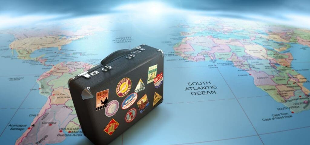 world map with suitcase